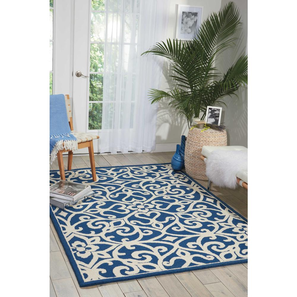 Nourison Linear Navy/Ivory Area Rug. Picture 2