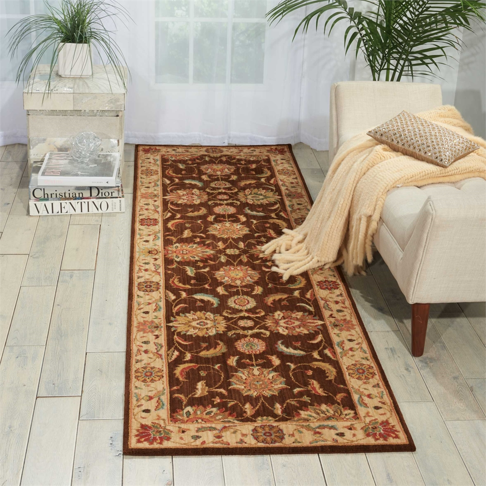 """Living Treasures Area Rug, Brown, 2'6"""" x 8'. Picture 4"""