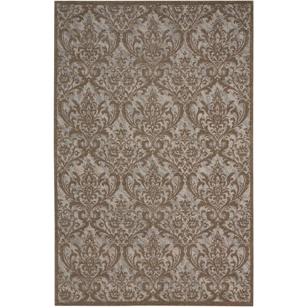 Damask Area Rug, Grey, 8' x 10'. Picture 1
