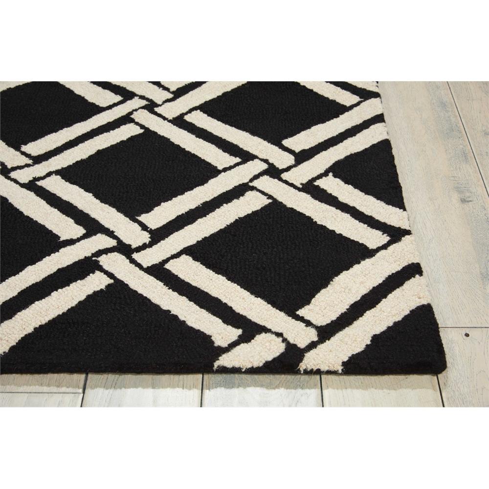 Linear Black/White Area Rug. Picture 3