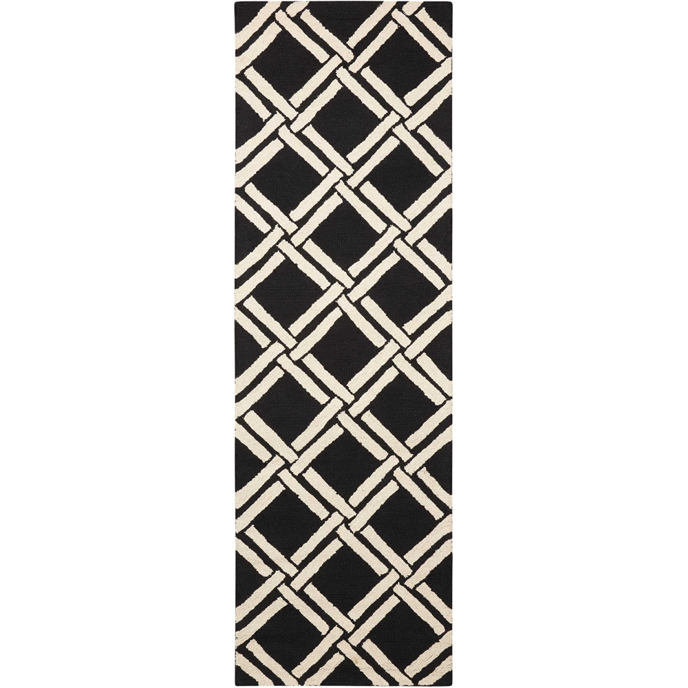 Linear Black/White Area Rug. Picture 1
