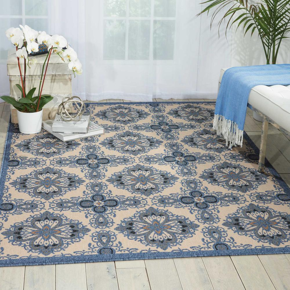 Nourison Caribbean Ivory Blue Indoor/Outdoor Area Rug. Picture 4