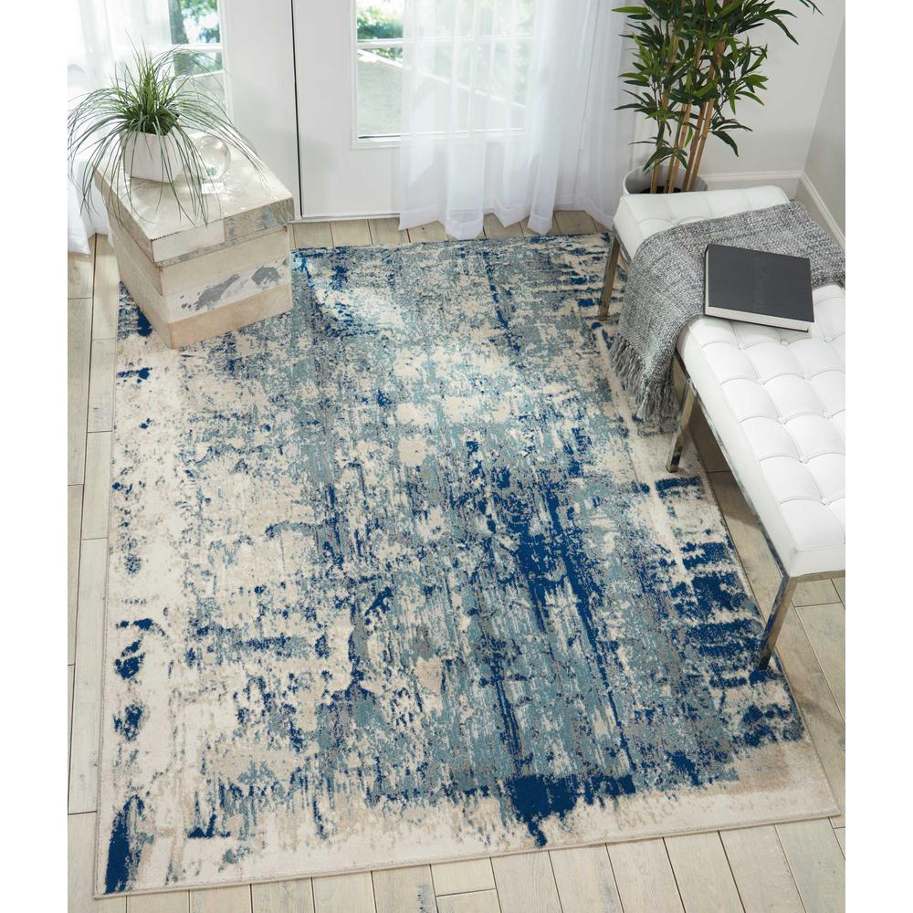 "Maxell Area Rug, Ivory/Blue, 5'3"" x 7'3"". Picture 2"