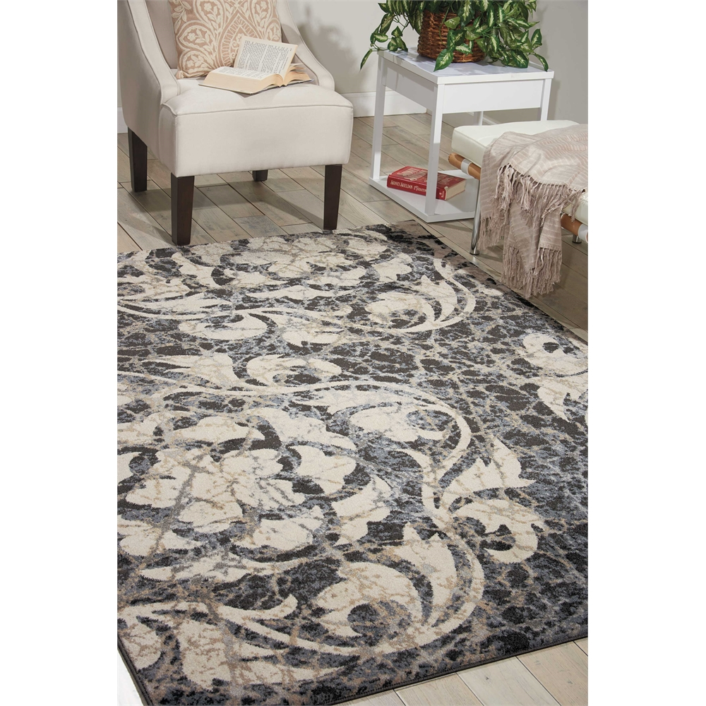 "Maxell Area Rug, Ivory/Charcoal, 5'3"" x 7'3"". Picture 6"