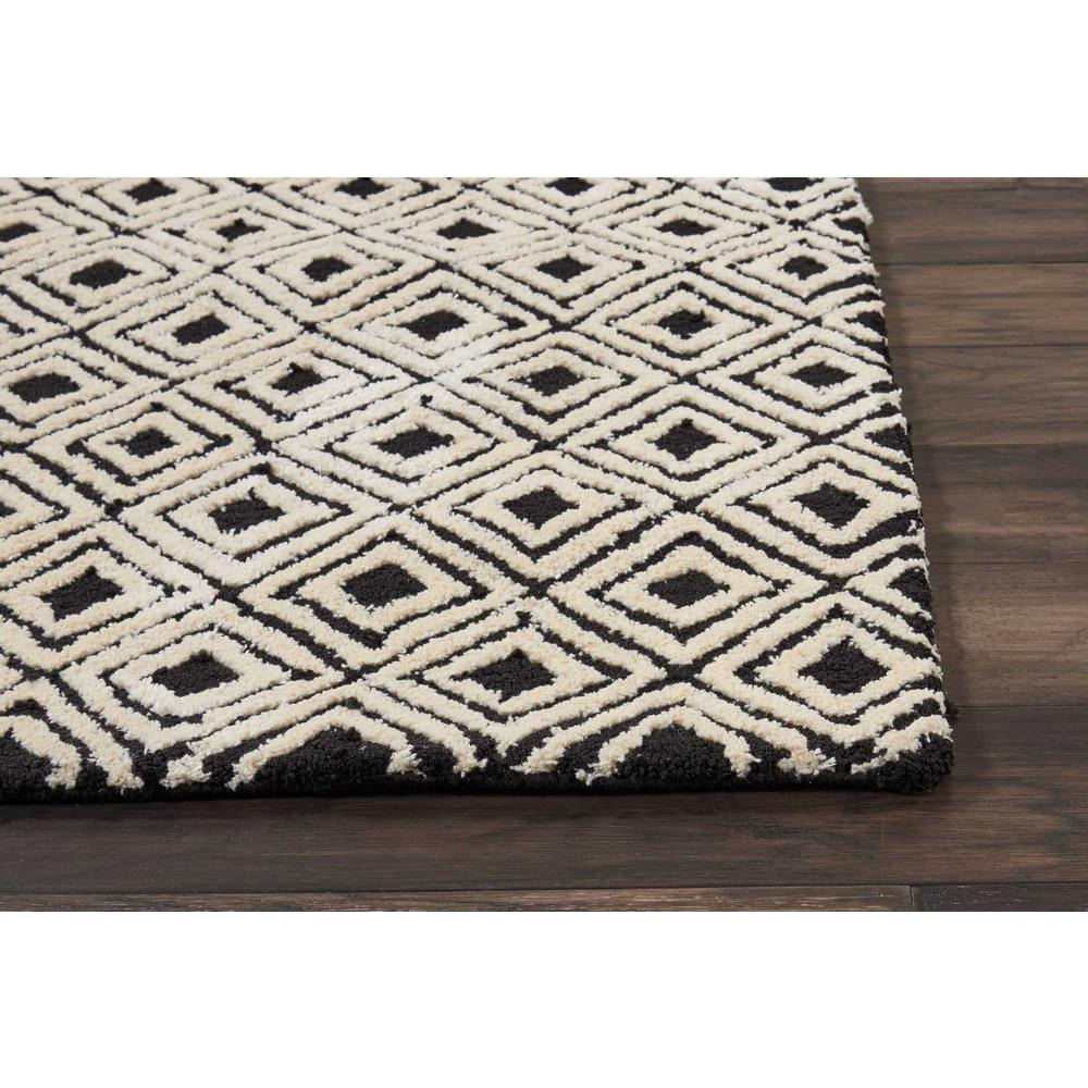 "Modern Deco Area Rug, Black/Beige, 2'3"" x 7'6"". Picture 3"