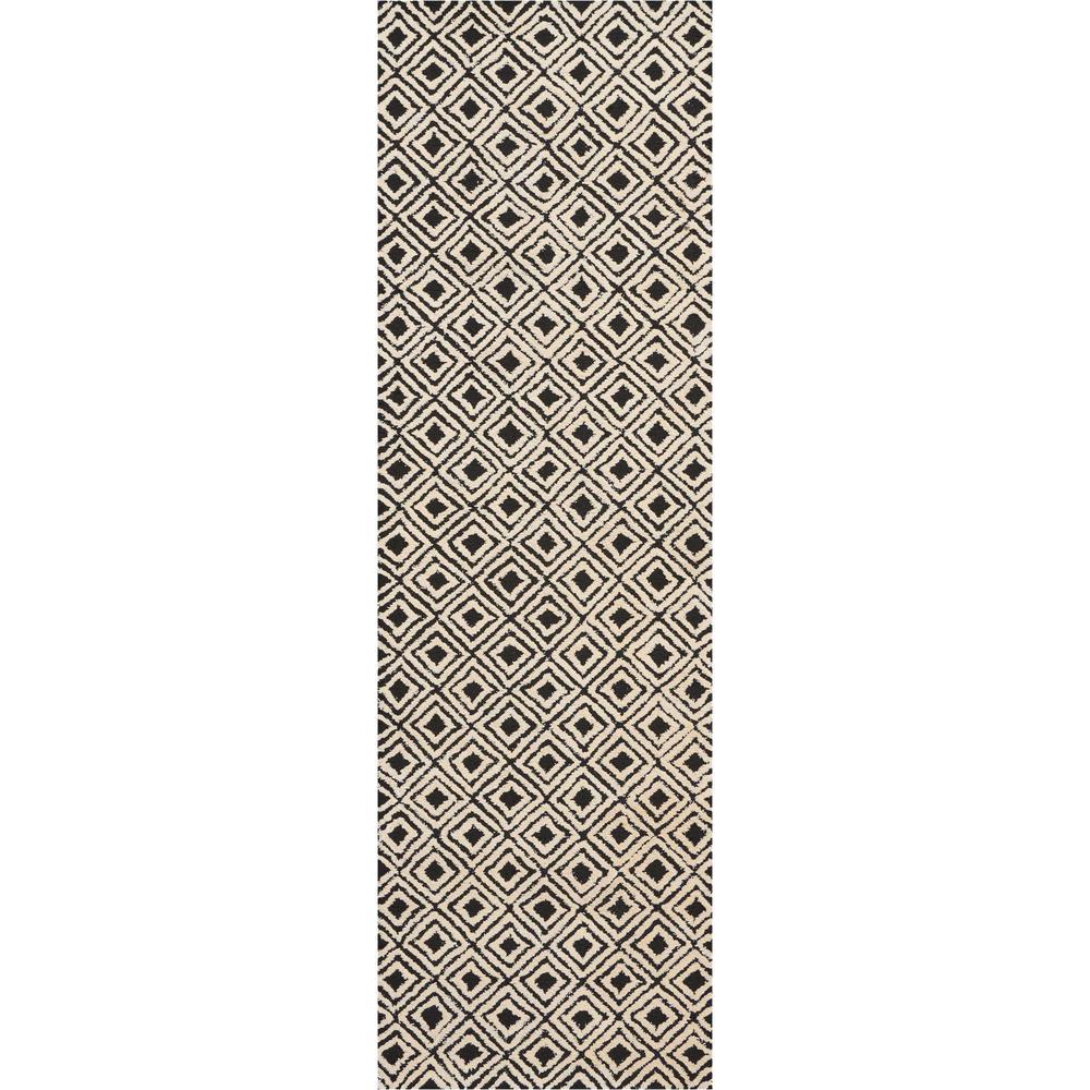 "Modern Deco Area Rug, Black/Beige, 2'3"" x 7'6"". Picture 1"