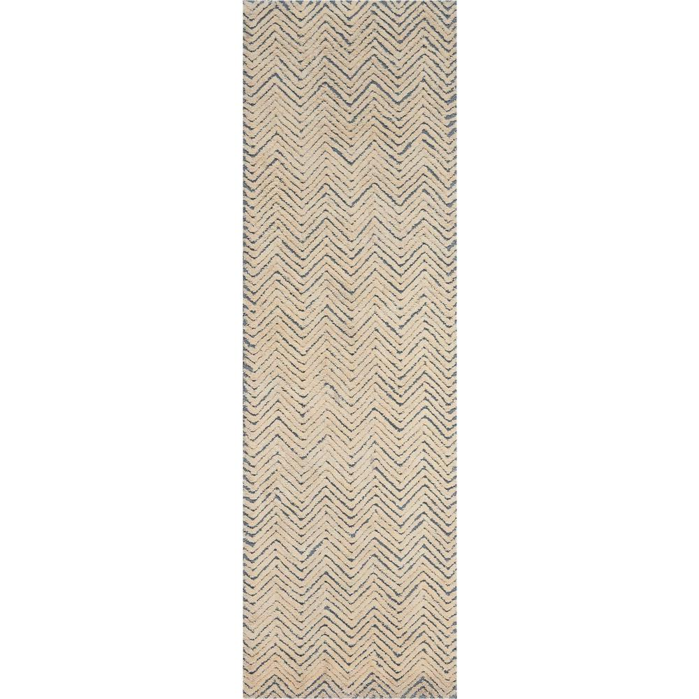 """Modern Deco Area Rug, Light Blue/Ivory, 2'3"""" x 7'6"""". Picture 1"""