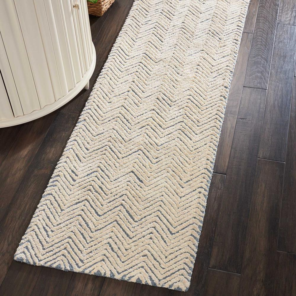 """Modern Deco Area Rug, Light Blue/Ivory, 2'3"""" x 7'6"""". Picture 2"""