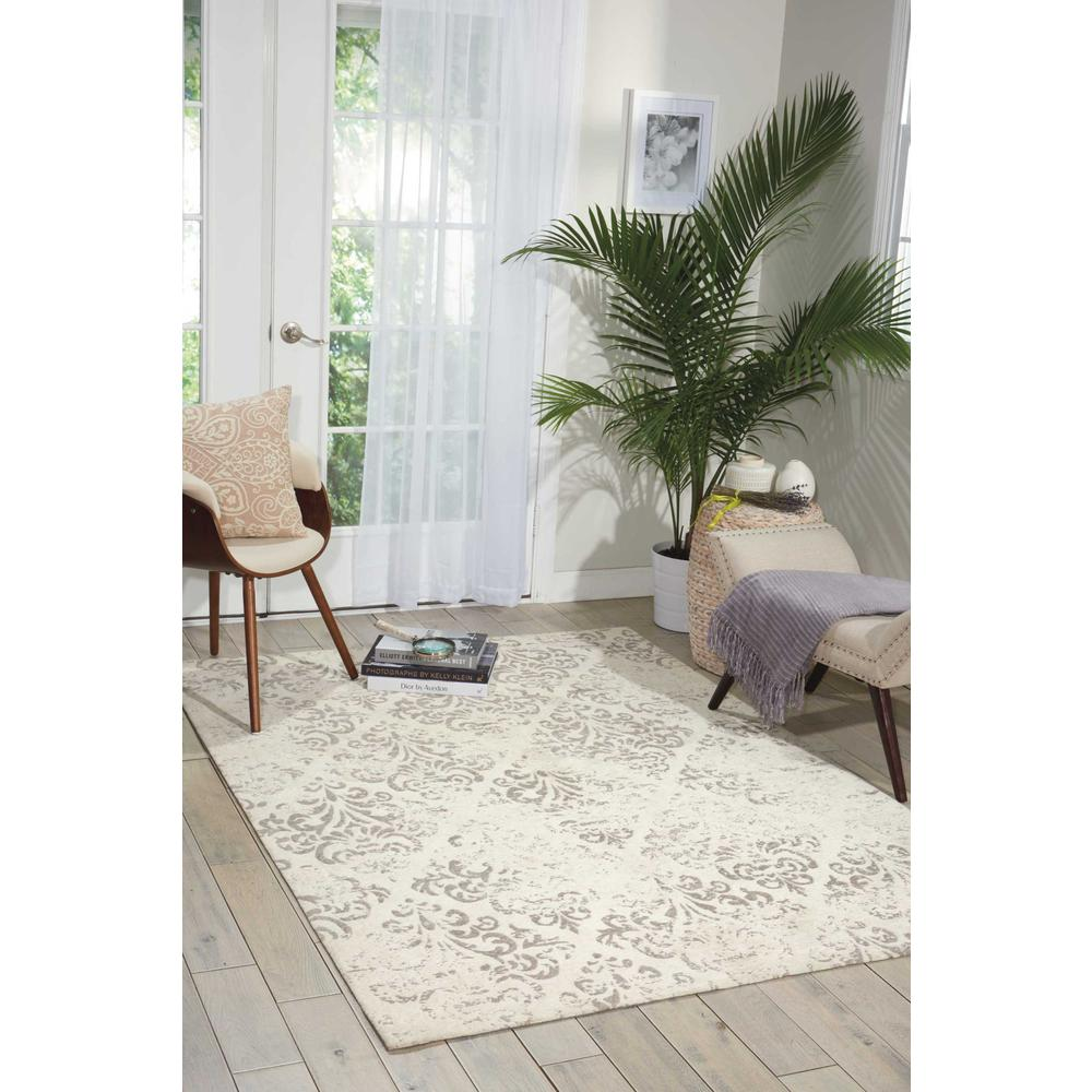 Damask Area Rug, Ivory, 8' x 10'. Picture 4