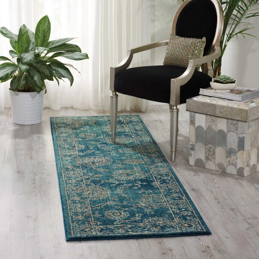 """Nourison 2020 Area Rug, Teal, 2'3"""" x 8'. Picture 2"""