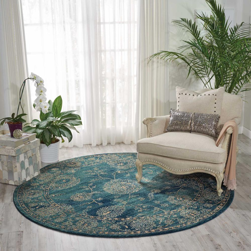 """Nourison 2020 Area Rug, Teal, 7'5"""" x ROUND. Picture 2"""
