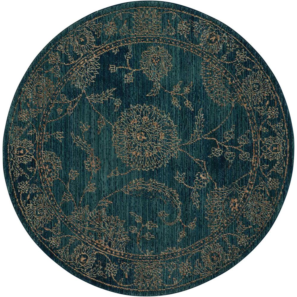 Nourison 2020 Area Rug, Teal, 5' x ROUND. Picture 1