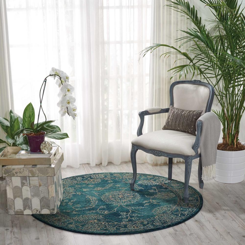 Nourison 2020 Area Rug, Teal, 5' x ROUND. Picture 2