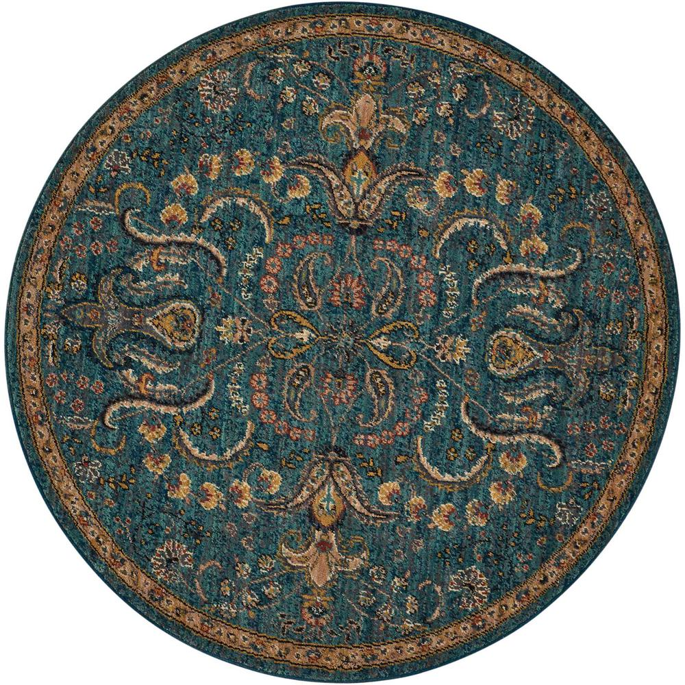 Nourison 2020 Area Rug, Teal, 5' x ROUND. The main picture.