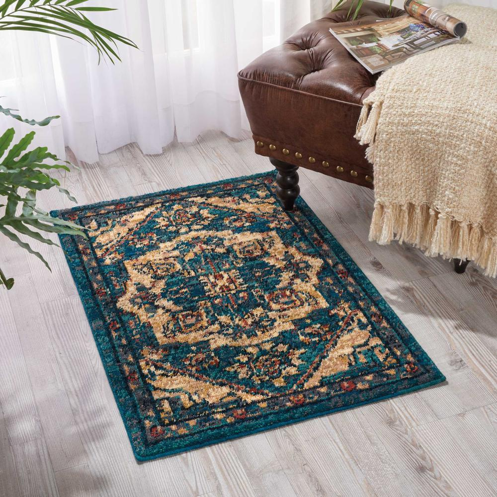 Nourison 2020 Area Rug, Teal, 2' x 3'. Picture 2