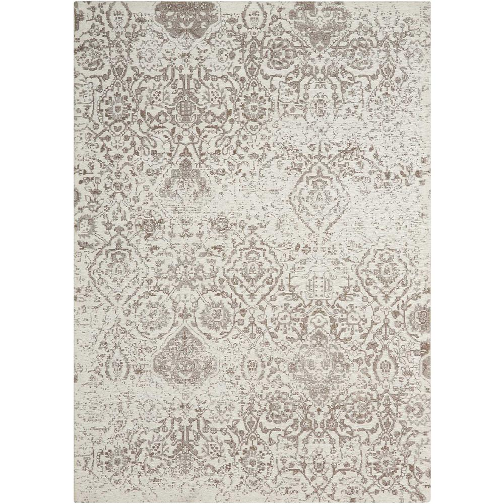 Damask Area Rug, Ivory, 8' x 10'. Picture 1