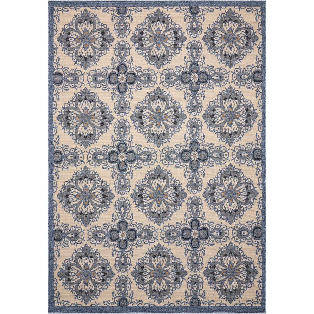 Nourison Caribbean Ivory Blue Indoor/Outdoor Area Rug. Picture 1