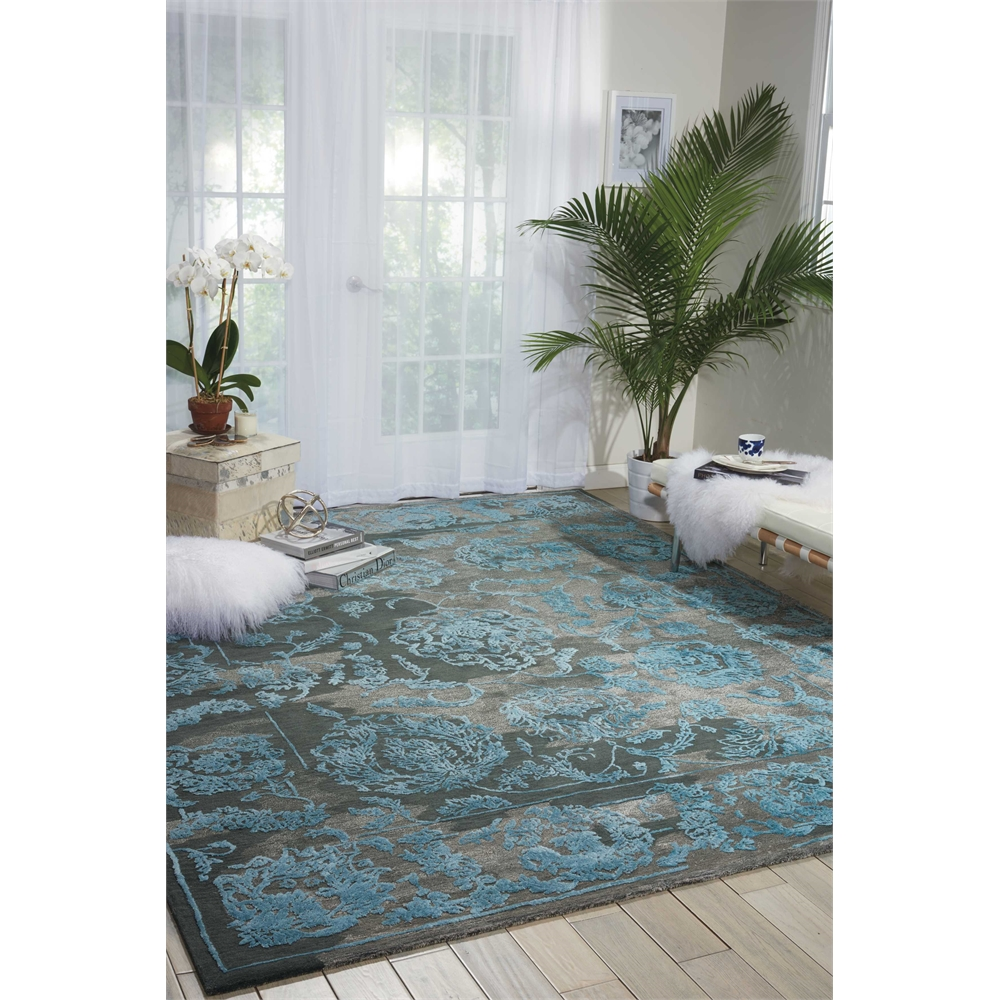 """Opaline Area Rug, Charcoal/Blue, 7'9"""" x 9'9"""". Picture 6"""