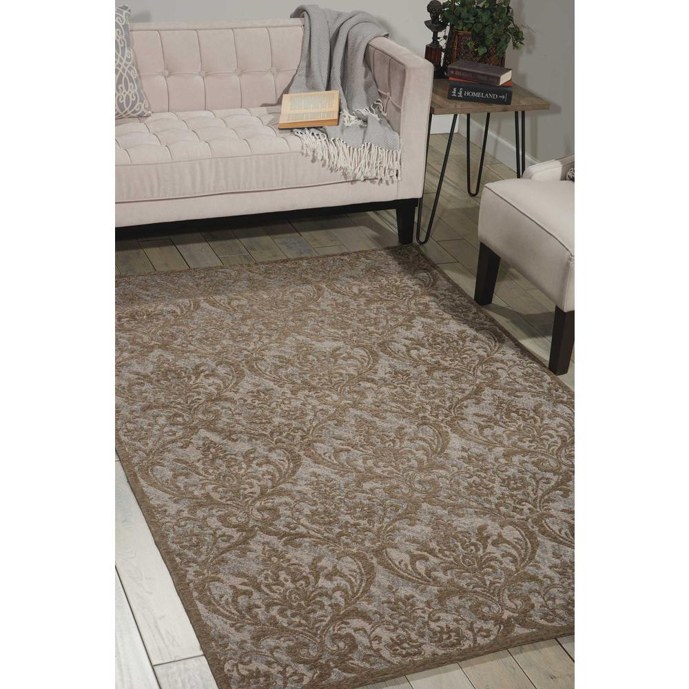 Damask Area Rug, Grey, 8' x 10'. Picture 4