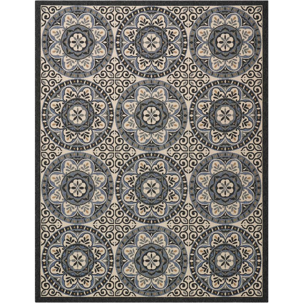 """Caribbean Area Rug, Ivory/Charcoal, 9'3"""" x 12'9"""". Picture 1"""