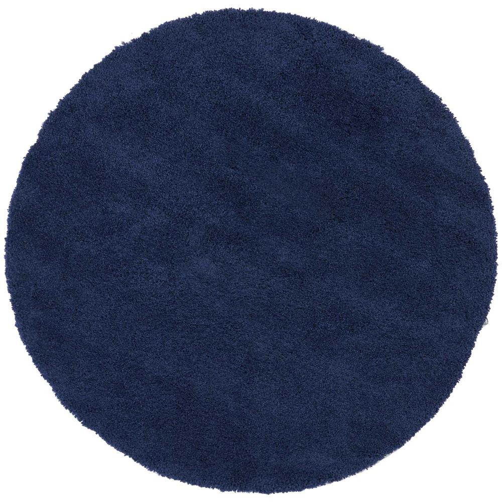 "Malibu Shag Area Rug, Navy, 7'10"" x ROUND. Picture 1"