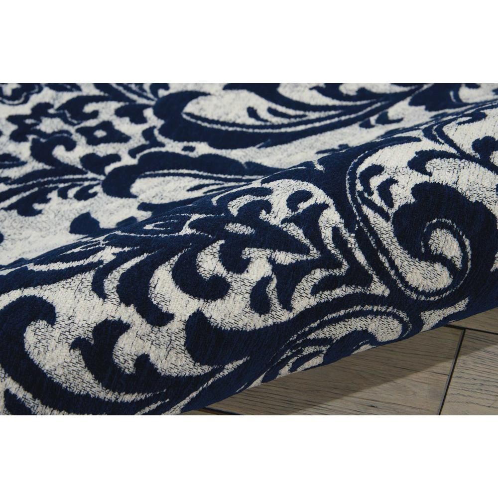 Damask Area Rug, Ivory/Navy, 8' x 10'. Picture 3