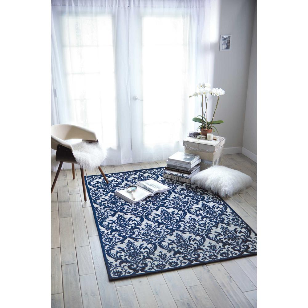 Damask Area Rug, Ivory/Navy, 8' x 10'. Picture 4