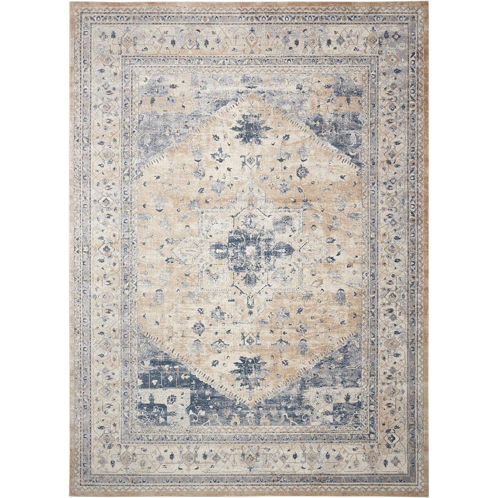 KI25 Malta Area Rug, Beige/Blue, 9' x 12'. The main picture.