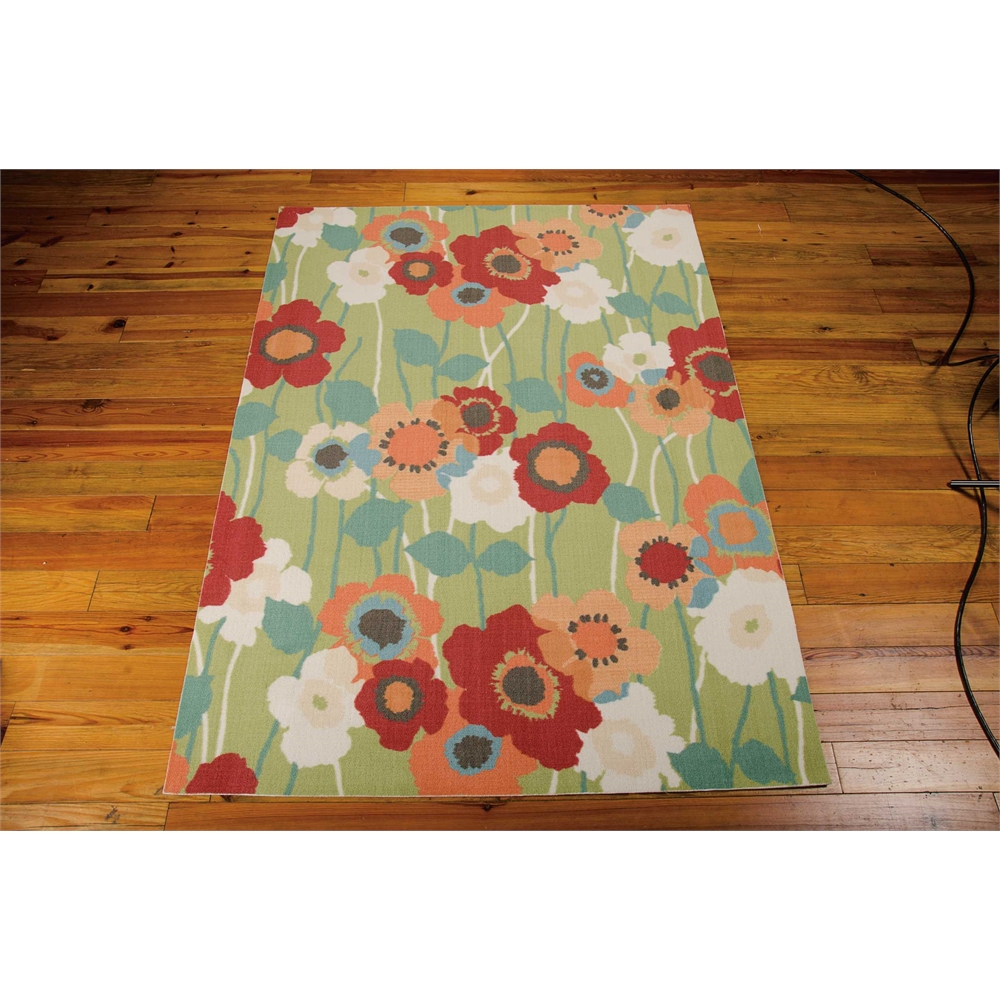 """Waverly Sun & Shade """"Pic-A-Poppy"""" Seaglass Indoor/Outdoor Area Rug by Nourison. Picture 3"""