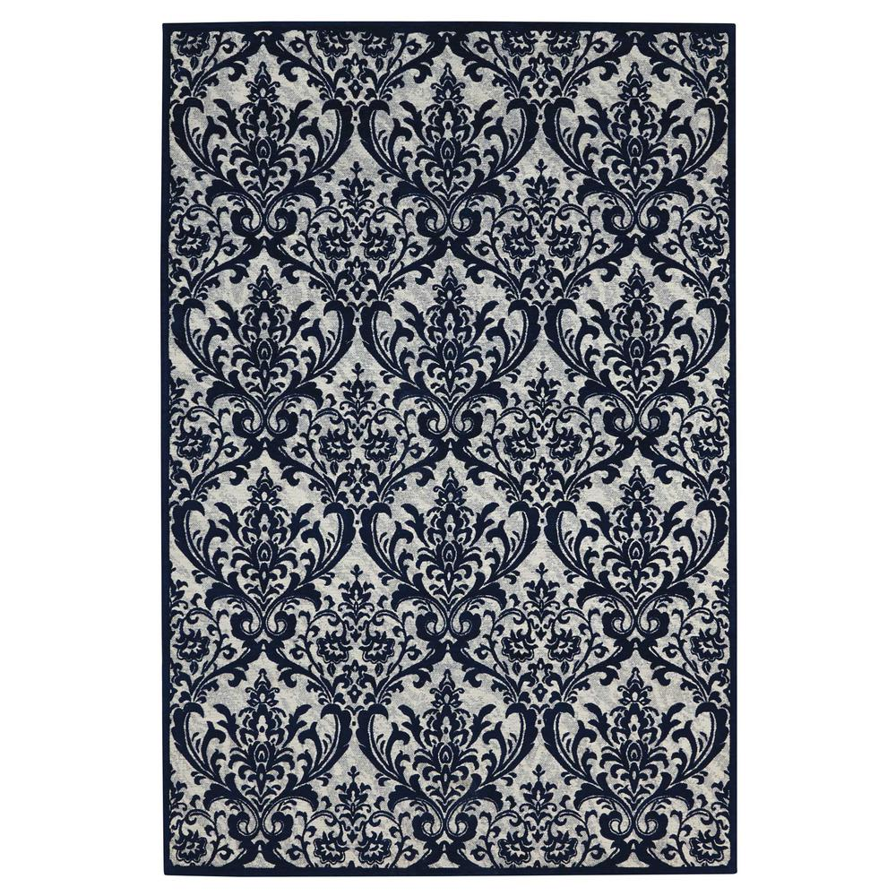 Damask Area Rug, Ivory/Navy, 8' x 10'. Picture 1