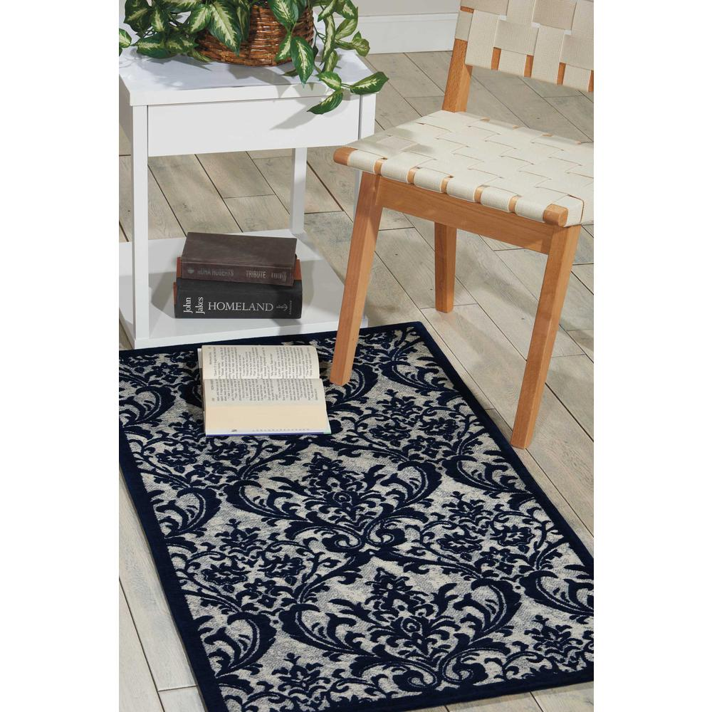 "Damask Area Rug, Ivory/Navy, 2'3"" x 3'9"". Picture 4"