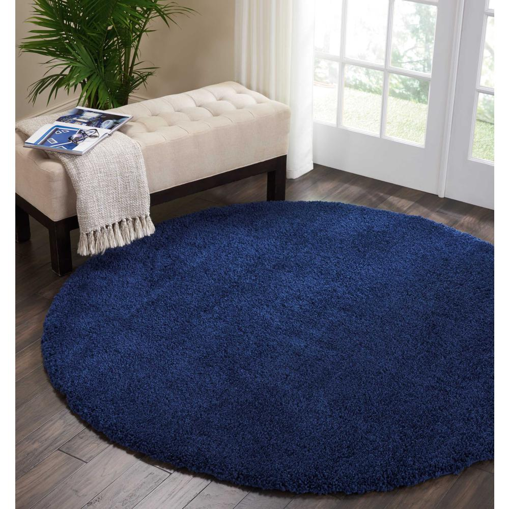"Malibu Shag Area Rug, Navy, 7'10"" x ROUND. Picture 4"