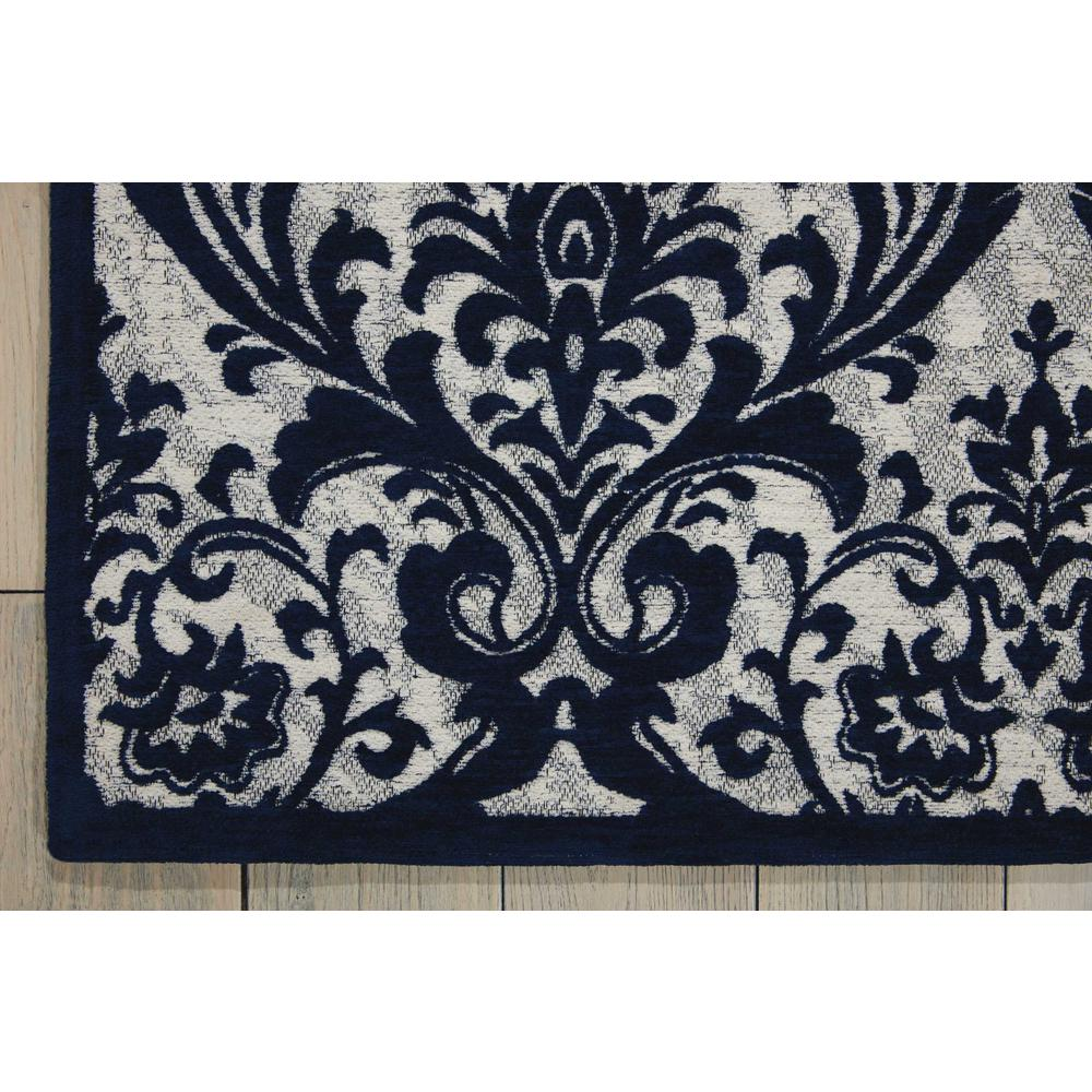 Damask Area Rug, Ivory/Navy, 8' x 10'. Picture 2