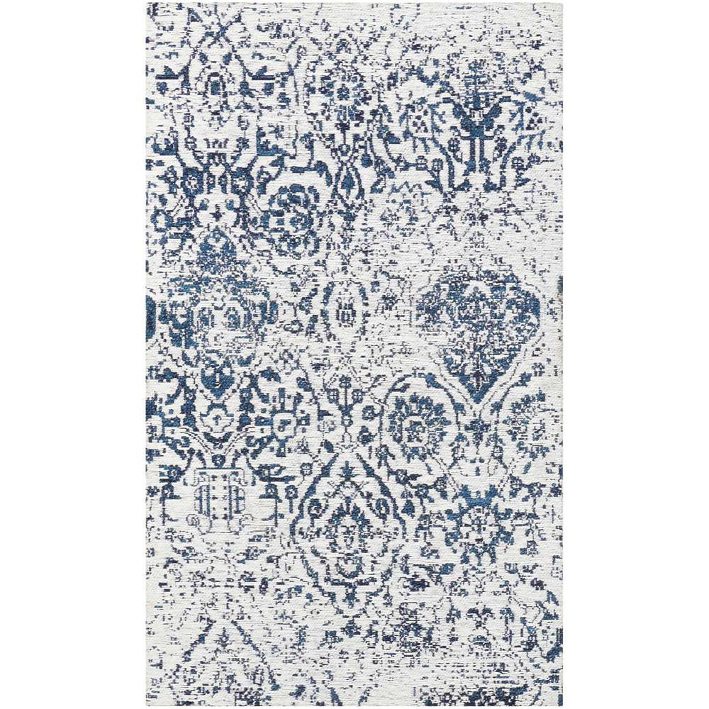 """Damask Area Rug, Ivory/Navy, 2'3"""" x 3'9"""". Picture 1"""