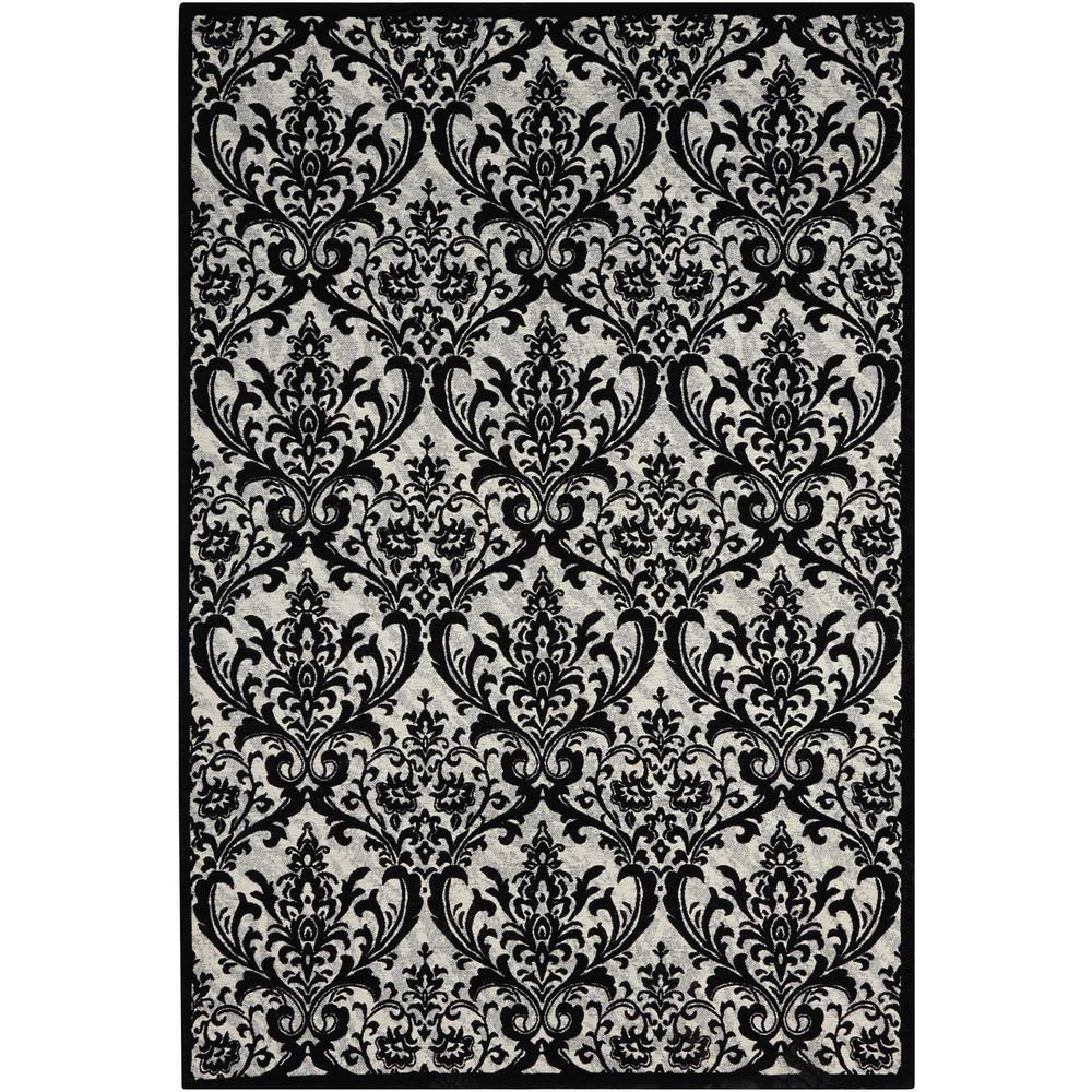 Damask Area Rug, Black/White, 8' x 10'. Picture 1
