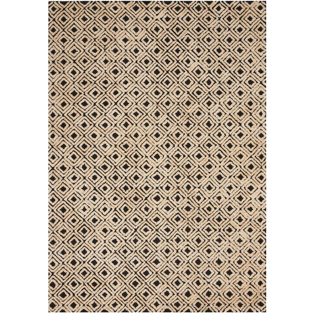"Modern Deco Area Rug, Black/Beige, 3'9"" x 5'9"". Picture 1"