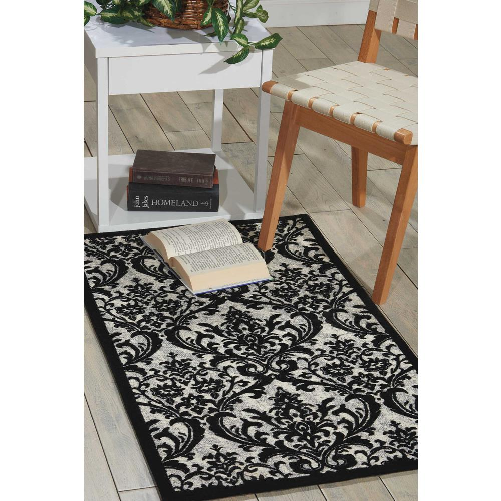 "Damask Area Rug, Black/White, 2'3"" x 3'9"". Picture 4"