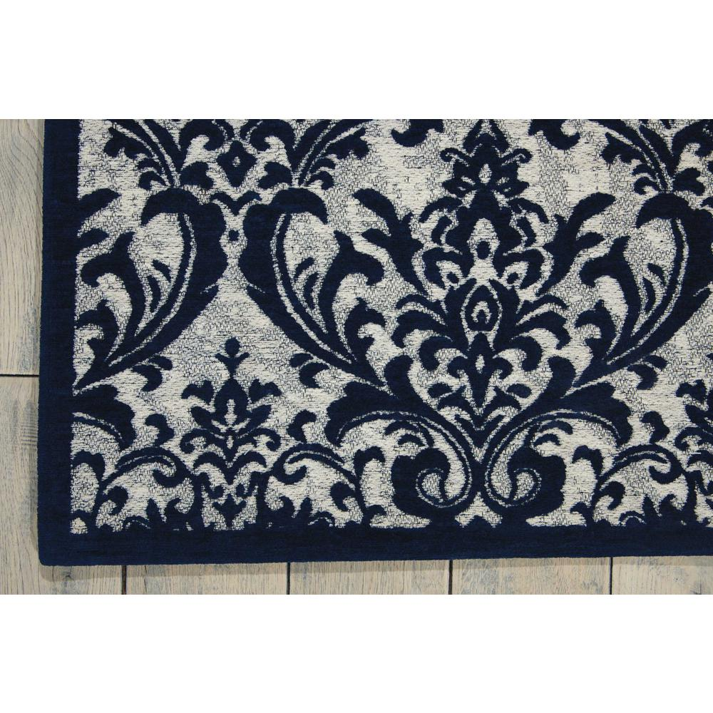 "Damask Area Rug, Ivory/Navy, 2'3"" x 3'9"". Picture 2"