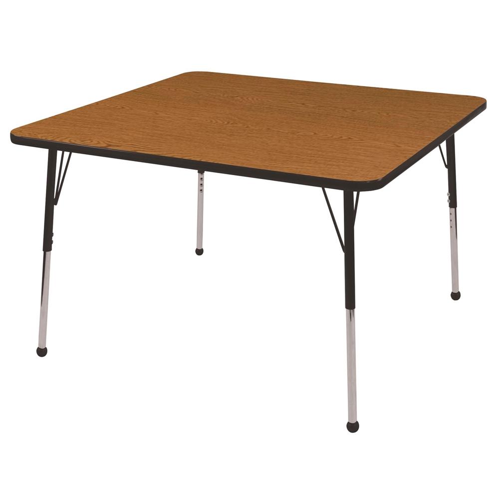 48 Square T Mold Activity Table Oak Black Standard Ball