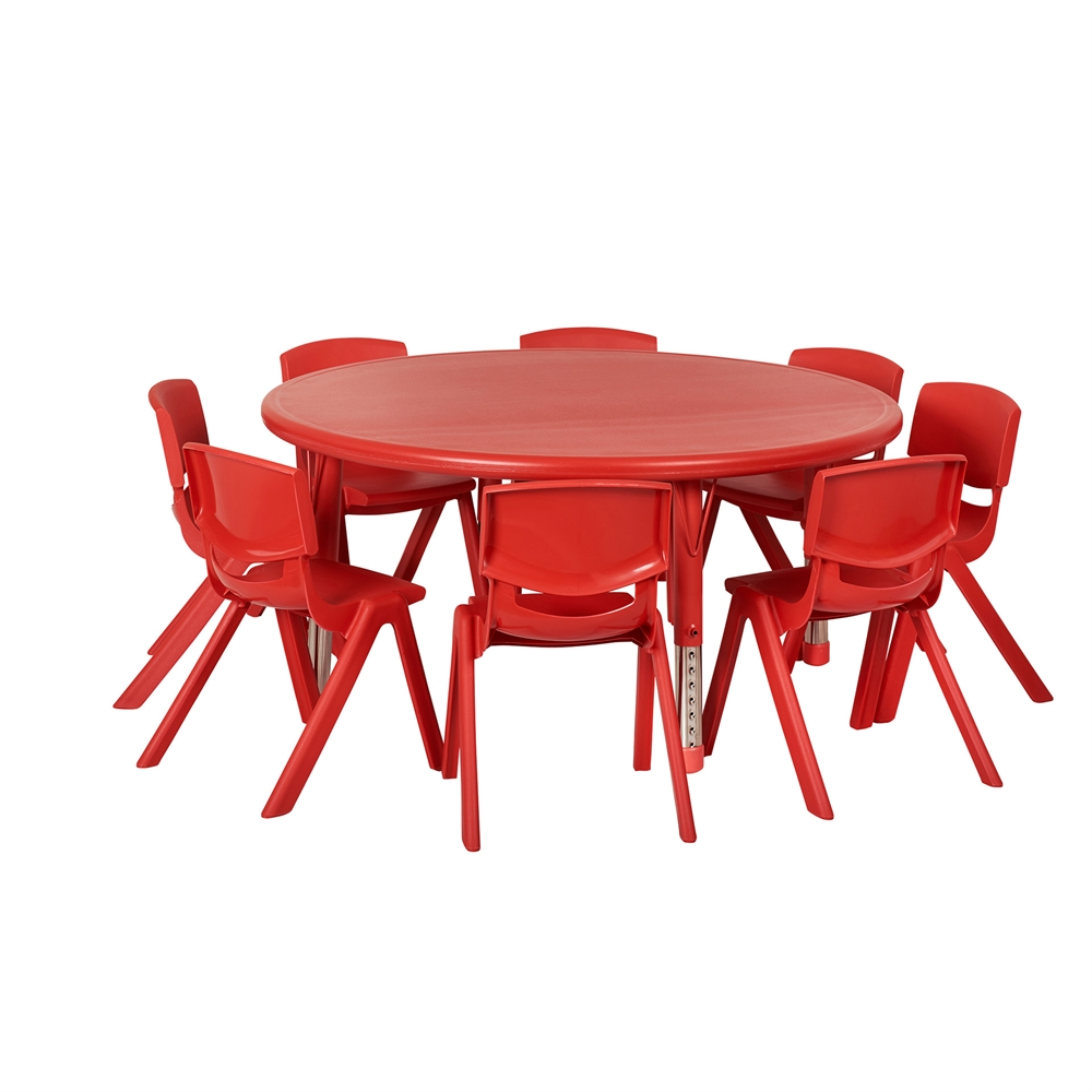 "ECR4Kids 45"" Round Resin Table & 8x10"" Chairs Red"