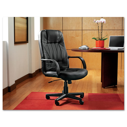 Sparis Executive High-Back Swivel/Tilt Bonded Leather Chair, Supports up to 275 lbs, Black Seat/Black Back, Black Base. Picture 2