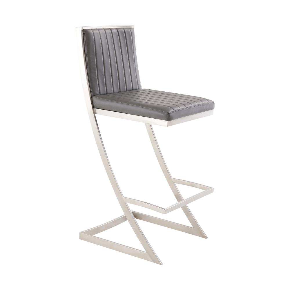 Pinellas Modern Grey Stainless Steel Bar and Counter Stool. Picture 1