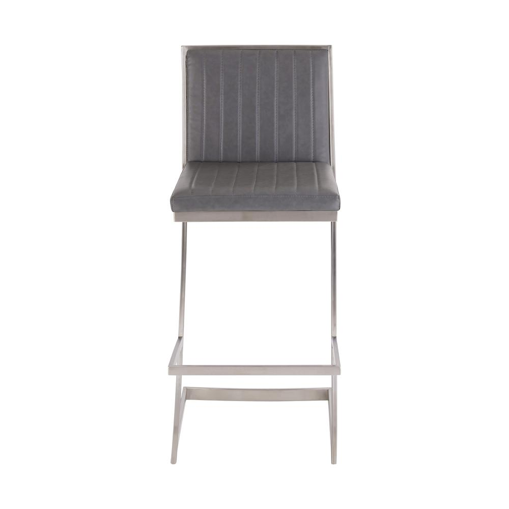 Pinellas Modern Grey Stainless Steel Bar and Counter Stool. Picture 2