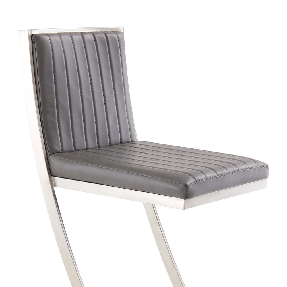 Pinellas Modern Grey Stainless Steel Bar and Counter Stool. Picture 5