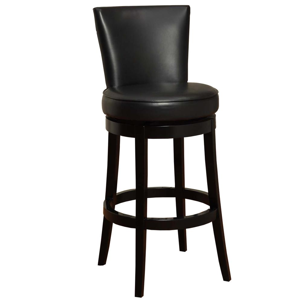 "Armen Living Boston Swivel Barstool In Black Bonded Leather 26"" seat height. Picture 1"