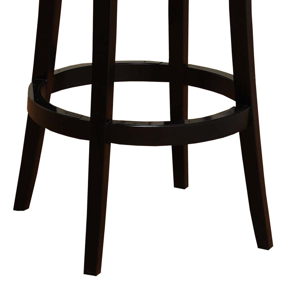 "Armen Living Boston Swivel Barstool In Black Bonded Leather 26"" seat height. Picture 3"