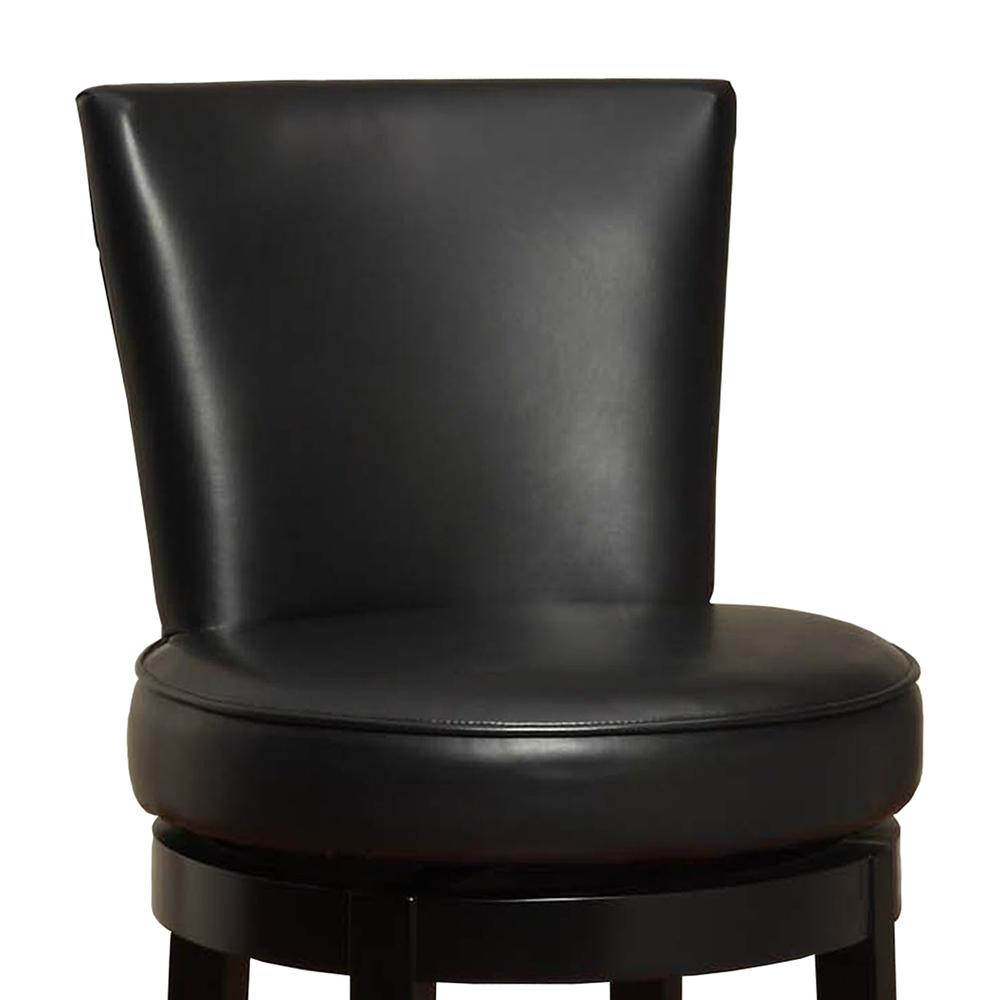 "Armen Living Boston Swivel Barstool In Black Bonded Leather 30"" seat height. Picture 2"