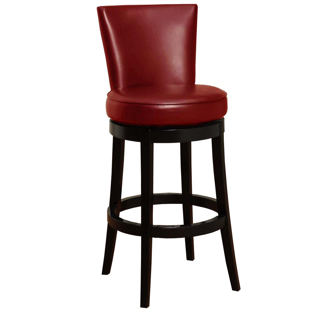 "Armen Living Boston Swivel Barstool In Red Bonded Leather 26"" seat height. Picture 1"