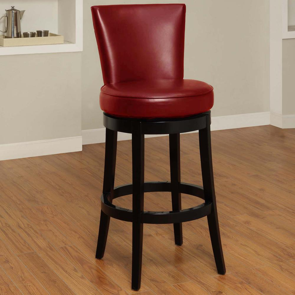 """Swivel Barstool In Red Bonded Leather 30"""" seat height. Picture 3"""