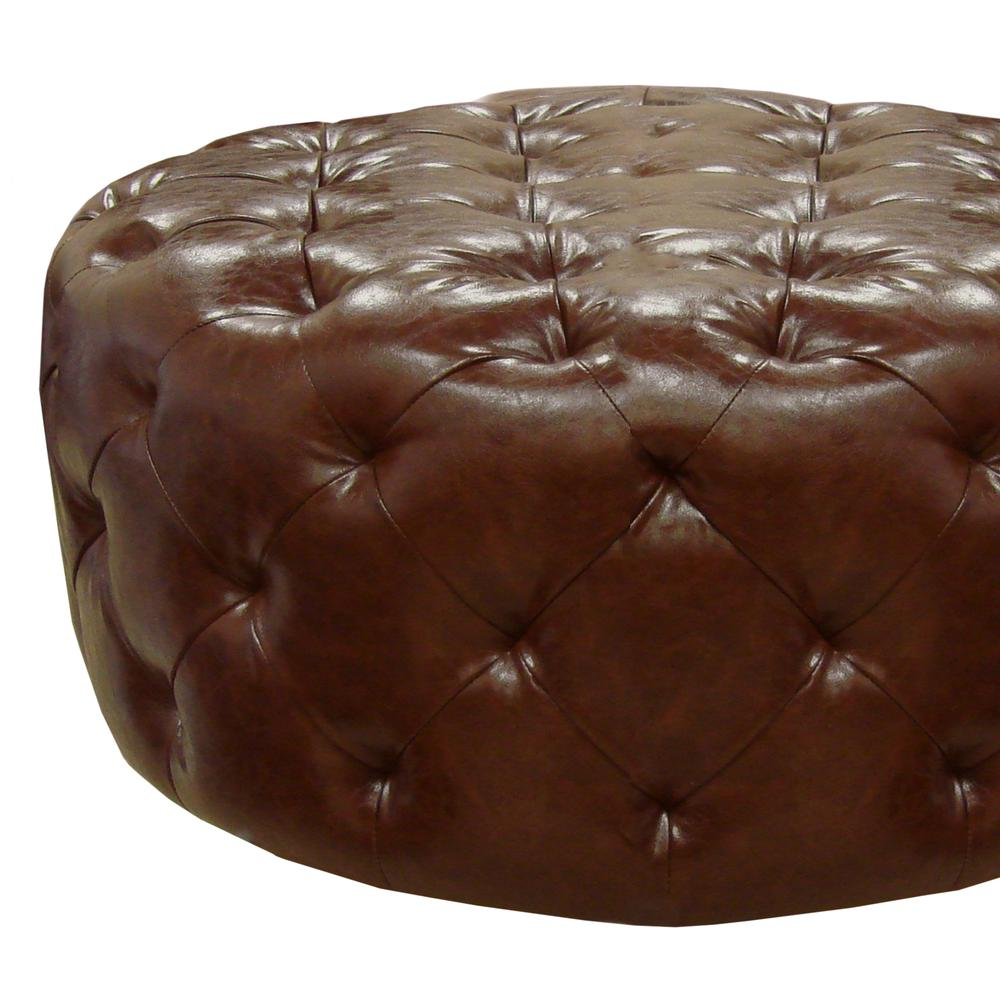 Armen Living Victoria Ottoman In Brown Bonded Leather. Picture 2